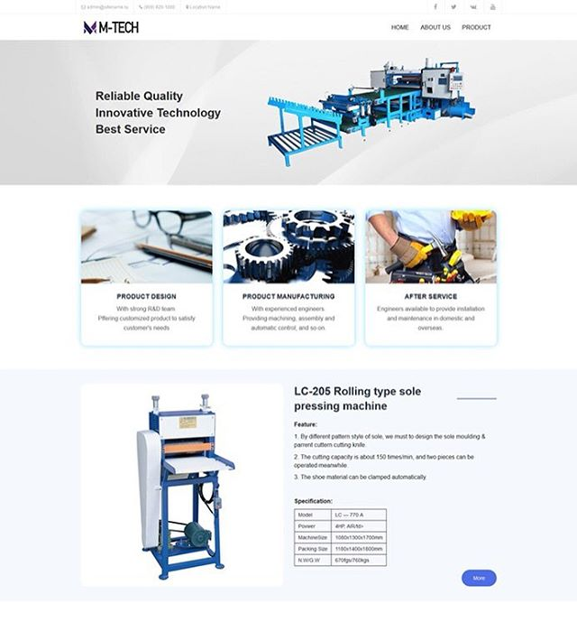 Сайт по продаже промышленного оборудования M-tech. Вывод блока рандомной продукции и каталог оборудования. #webdevelopment #website